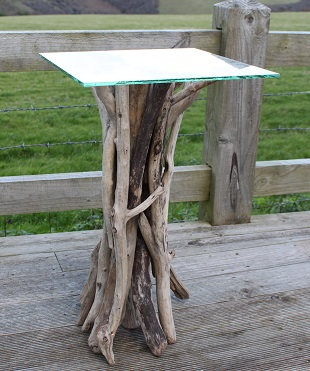 Driftwood Lamp Table With Square Glass Top Indonesian